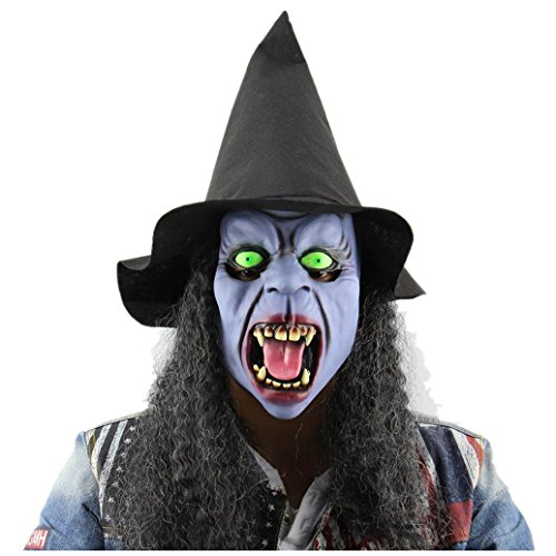 [CLEARANCE!! WILLTOO Witch Mask With Hair, Fad Scared Halloween Headgear Festival Dance Party Toys (Multicolor)] (Sexy Witch Tattoo)