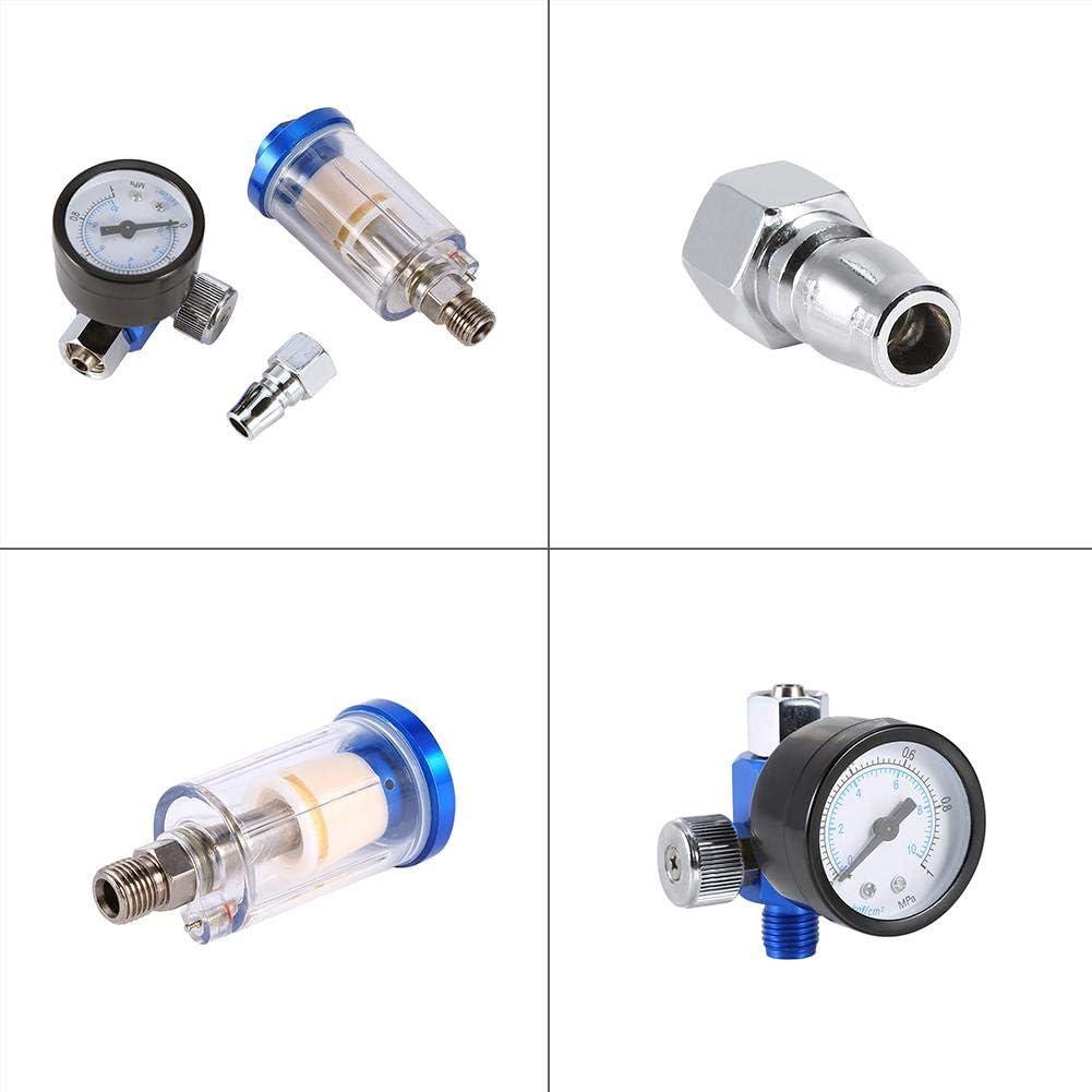 calibrador de regulador de aire de pistola neum/ática con rosca de 1//4 separador de filtro de trampa de agua y aceite en l/ínea Regulador de presi/ón de aire