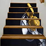 """vanfan 3D Creative compound miter power saw isolated on black background DIY Refurbished Stairs Stickers Removable Waterproof Stairs Mural(39.3""""w x 7""""h x 6PCS)"""