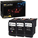 Cartlee 3 Remanufactured High Yield Ink Cartridge Replacement for PG-240XL 240 XL CL-241XL 241 XL PIXMA MX472 MX452 MG3220 MG3520 MX432 MX439 MX512 MG2120 MG3600 MX459 MX479 MG3620 (2 Black, 1 Color)