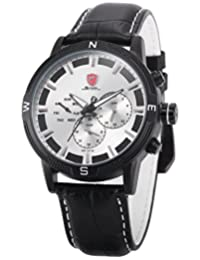 Shark Men's Sport White Dial Day/Date Display Dual Time Zone Leather Band Analog Quartz Wrist Watch Black/White SH349