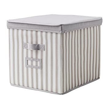 Perfekt IKEA Weiss 33 X 39 X 33 Cm Strips Svira Grey Box With Lid