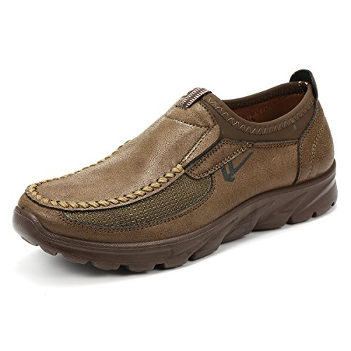 gracosy Slip-On Shoes, Men Hand Stitching Microfiber Leather Non-Slip Casual Shoes Slip-On Sneaker Walking Loafer Boat Shoe Yellow Brown 11.5 D(M) US - Microfiber Mens Shoes