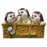QHYT Garden Lifelike Decorations Flower Pot with Animal Statue Hedgehog
