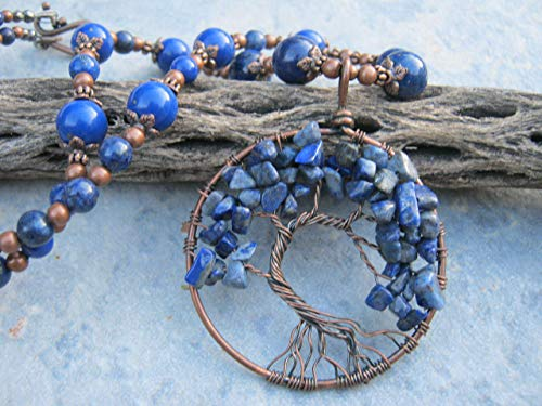 "21"" Sodalite Tree of Life Pendant Necklace, Blue Gemstone Beaded Necklace, Glass and Lapis Lazuli Beaded Jewelry"