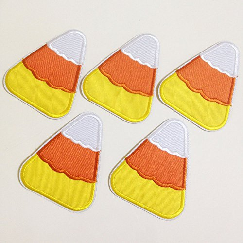 Set of 10 pcs Halloween Candy Corn Iron On Sew On Cloth Embroidered Patches Appliques Machine Embroidery Needlecraft Sewing Projects DIY -