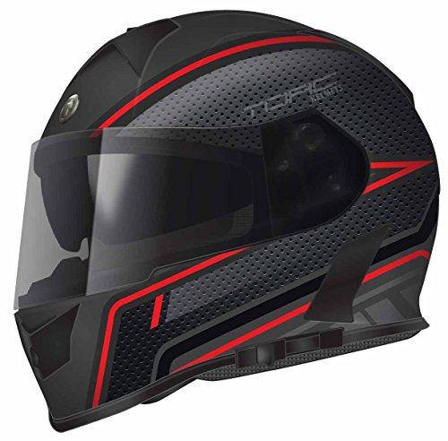 TORC T14B Bluetooth Integrated Mako Full Face Motorcycle Helmet With Graphic (Scramble Red)