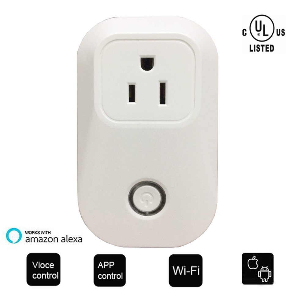 UL Listed WIFI Smart Plug, Wireless APP Remote Speaker Control Appliances Compatible with Alexa Smart Outlet for Smart Home Lights/ Fixtures/Other