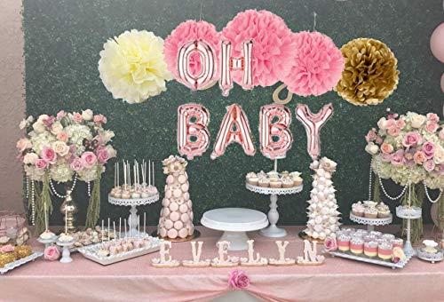 BABY SHOWER DECORATIONS FAVORS KIT SUPPLIES PARTY With Paper Straw Balloons Pom-Poms Tissue Tassels Cake Topper Its a GIRL PINK ROYAL GENDER ROSE GOLD PRINCESS -