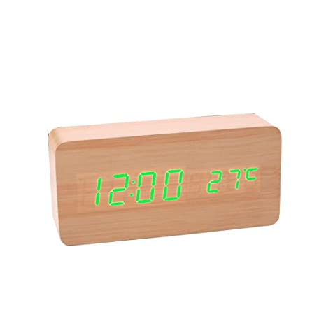 Wooden Alarm Clock LED Digital Clock Sound Control Function Time and Temperature