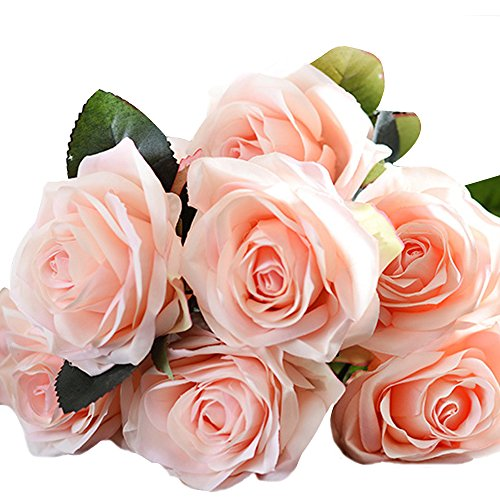 Jing-Rise Silk Rose 10 Heads Artificial Flower French Rose for Bridal Bouquet Wedding Living Room Table Home Garden Decoration(Champange)