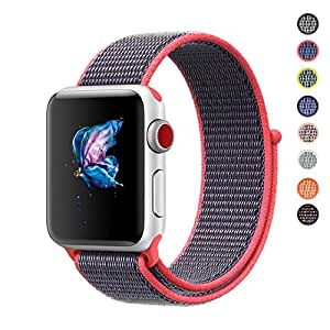 Qifit New Nylon Sport Loop with Hook and Loop Fastener Adjustable Closure Wrist Strap Replacment Band for iwatch Apple Watch Series 1 /2 / 3,42mm,Electric Pink