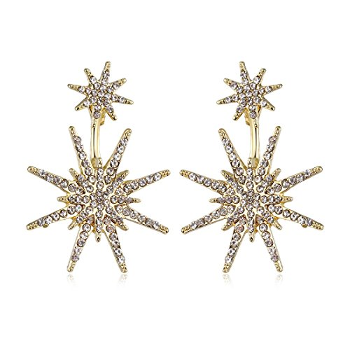 Star Stud Unique Gold Dangling Earrings for Women Fashion Wedding Ear Jacket Christmas Jewelry