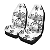 Semtomn Set of 2 Car Seat Covers Doodle Military Rank Insignia for Us Marine Corps Including Universal Auto Front Seats Protector Fits for Car,SUV Sedan,Truck
