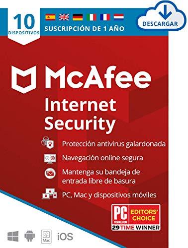 Mcafee Internet Security 2020 10 Dispositivos 1 Ano Software Antivirus Manager De Contrasenas Seguridad Movil Pcmacandroidios Edicion Europea Codigo De Activacion Enviado Por Email