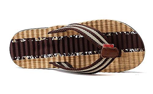 Sandalias Hombre para Marrón Piscina Interiores y Casual de Flop Exteriores Clásico Flip Playa Chanclas Casual Aitaobao qSIwExaS