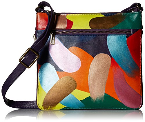 Anuschka Women's Genuine Leather Expandable Travel Crossbody | Hand Painted Original Artwork | Painterly Palette