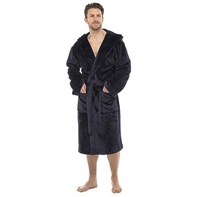 City Comfort® Luxus Herren Kapuzen-Morgenmantel Super Soft Fleece ...