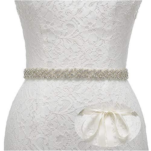 Remedios Rhinestone Bridal Belt Bridesmaid Sash Crystal Wedding Belt Women Dress Accessories, Ivory -