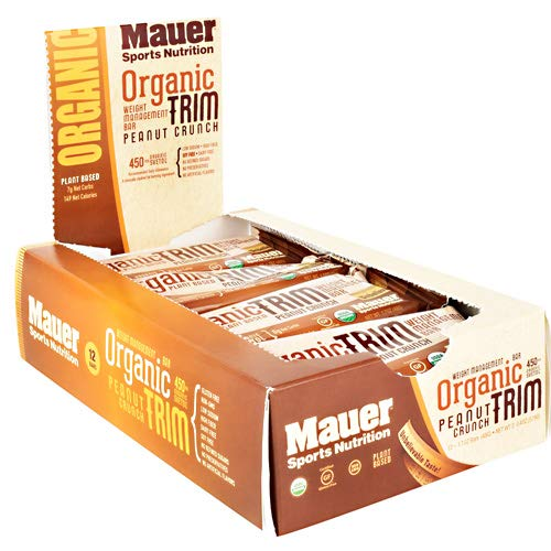 Mauer Sports Nutrition Organic Trim Weight Management Bar, Peanut Crunch, 12 Count