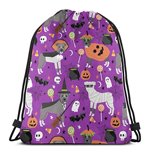 Pitbull Halloween Costume Dog Vampire Ghost Mummy Purple_16844 Custom Drawstring Shoulder Bags Gym Bag Travel Backpack Lightweight Gym for Man Women 16.9