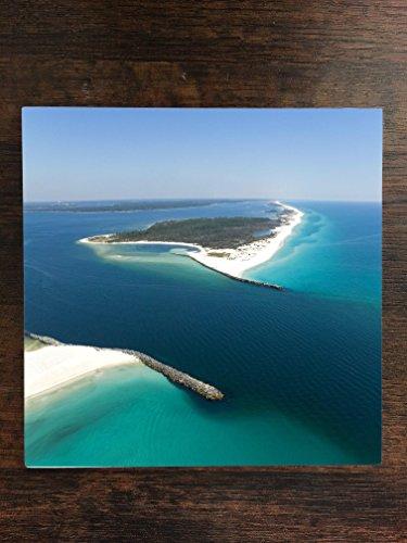 Beach Scene Tile (Popular Panama City Beach Shell Island Print One Piece Premium Ceramic Tile Coaster 4.25