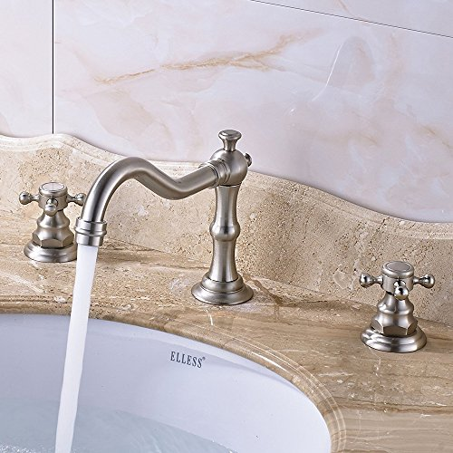 Purchase votamuta Deck Mounted Three Holes Double Handles Widespread Bathroom Sink Faucet,Brushed Ni...