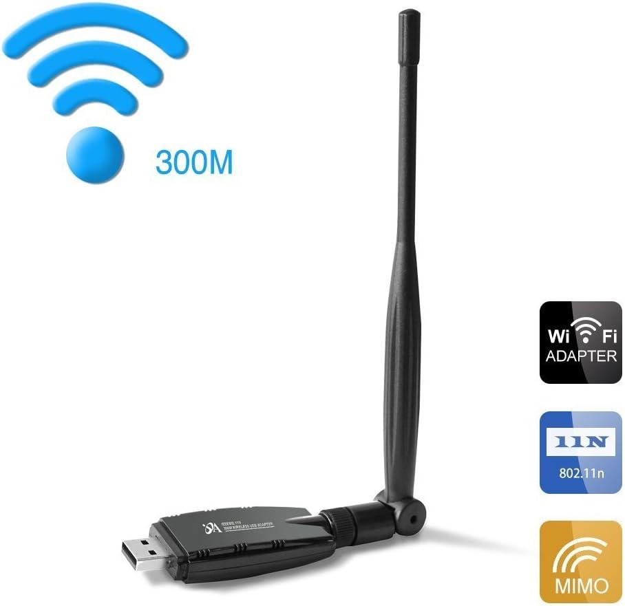 OKE WiFi Adaptador Inalámbrico USB Tarjetas de Red con 5dBi Antena Receptor Estabilidad de Señal para Laptop Desktop PC - 300Mbps (W60-5)