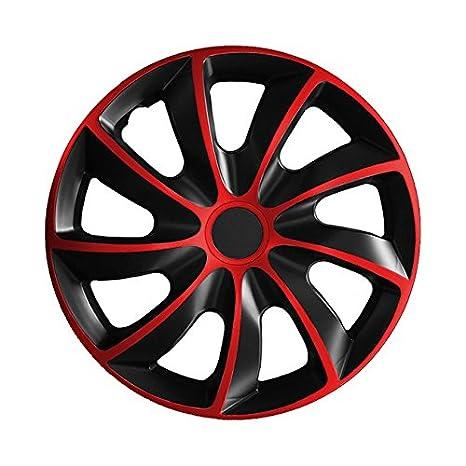 Tapacubos QUAD Negro de color rojo (Color y Tamaño a Elegir)