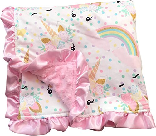 Baby Girls Newborn Unicorn Polka Double Layer Minky Receiving Blanket Cotton (P300030P) - Minky Toddler Car Seat Cover
