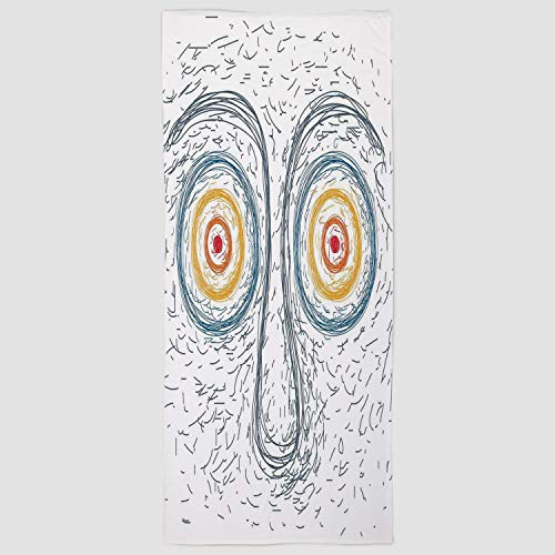 (iPrint Cotton Microfiber Hand Towel [ Psychedelic,Confused Man Portrait Human Face with Large Hypnotic Eyes Trance Hand Drawn,Multicolor ] for Hotel SPA Beach Pool Bath)
