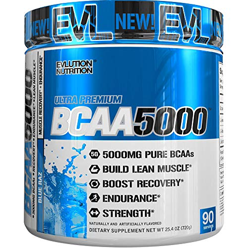 Evlution Nutrition BCAA5000 Powder 5 Grams of Branched Chain Amino Acids (BCAAs) Essential for Performance, Recovery, Endurance, Muscle Building, Keto Friendly, Zero Sugar, 90 Servings, Blue Raz
