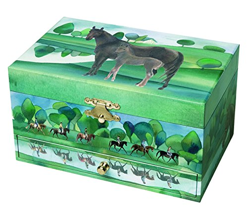 Trousselier - Horse - Photoluminescent Musical Jewelry Box - Glow in The Dark - Normandy - Green