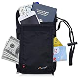 Dorras RFID Blocking Passport Holder - Neck Stash Pouch & Security Travel Wallet - Black