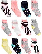 Simple Joys by Carter's Baby Girls - Calcetines para bebé (12 unidades), color rosa, gris y blanco