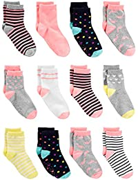 Baby and Toddler Girls' 12-Pack Sock Crew