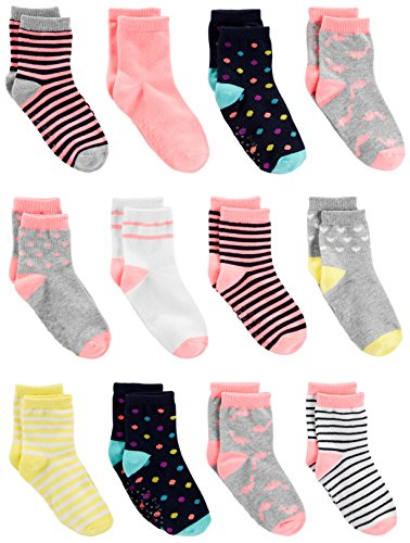 Simple Joys by Carter's Girls' Toddler 12-Pack Sock Crew, Pink/Multi, 2T/3T Toddler Girls Socks