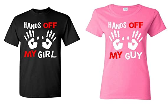 933a335e Amazon.com: Couple matching Hands Off My Girl - My Boy T-shirt: Clothing