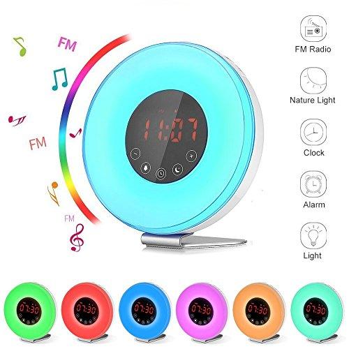 ArtDemo Wake Up Light Digital Sunrise Alarm Clock With Sunset Simulation Touch Control Digital LED Clock 7 Colors/ 6 Natural Sounds/Snooze Function / FM Radio / USB - Alarm Birdsong Clock