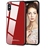 tempered glass panel - iPhone X Case, iPhone X Glass Case, Maxdara [Tempered Glass Panel Back] Ultra Thin Anti-scratch Hard Case Support Wireless Charging with Soft TPU Edge Protection Fashion Design for Girls Gifts (Red)