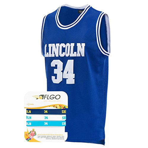 f9a0de505df4 AFLGO Jesus Shuttlesworth 34 Lincoln High School Basketball Jersey Include  Set Wristbands S-XXL (