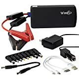 WEEGO 44.1 Jump Starting Power Pack 2100 Peak 440 Cranking Amps High Performance Lithium Ion Power Pack Quick Charges Phones 500 Lumen LED Flashlight Water Resistant USA Designed and Engineered