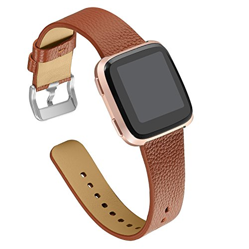 bayite Leather Bands Compatible Fitbit Versa, Slim Wristband Replacement Accessories Fitness Classic Straps Women Men, Brown
