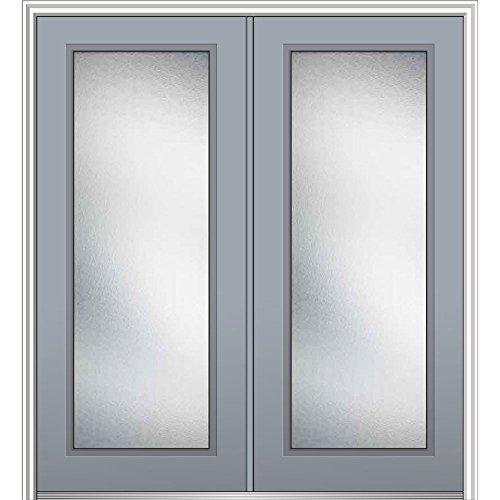 National Door Z0343224R Right Hand In-Swing Exterior Prehung Door, Micro Granite, Full Lite, Fiberglass, Smooth, 72'', 80'' Height, Storm Cloud by National Door Company