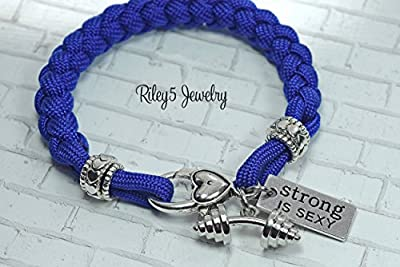 Strong is Sexy Barbell - Dumbbell paracord bracelet - Motivational workout fitness - weightlifting Jewelry Inspirational - Bodybuilding