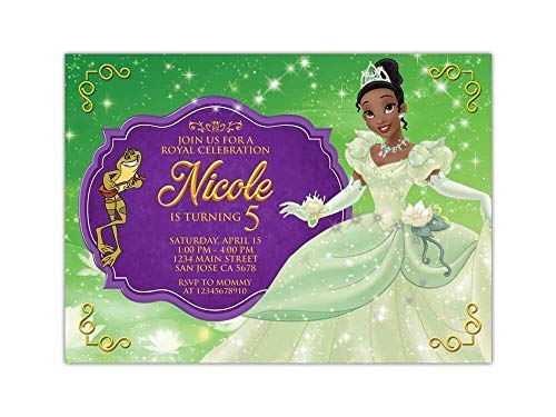 "Custom Princess and the Frog Birthday Party Invitations for Kids, 10pc-100pc 4""x6"" or 5""x7"" Birthday Cards with White Envelopes, Printed on Premium 265gsm Card Stock in Matte or Glossy Finish"