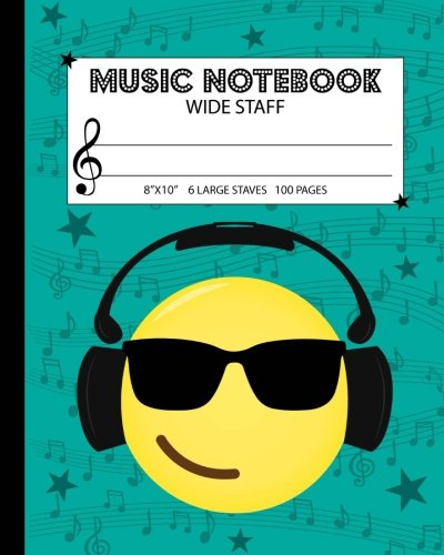 Music Notebook: Wide Staff Manuscript Paper Notebook For Kids - 6 Large Staves Per Page (8