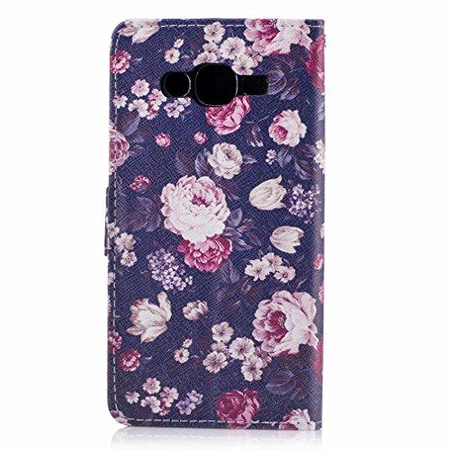 Yiizy Samsung Galaxy J2 Prime / G532M / G532F / G532G Custodia Cover, Rose Rosse e Bianche Design Sottile Flip Portafoglio PU Pelle Cuoio Copertura Shell Case Slot Schede Cavalletto Stile Libro Bumper