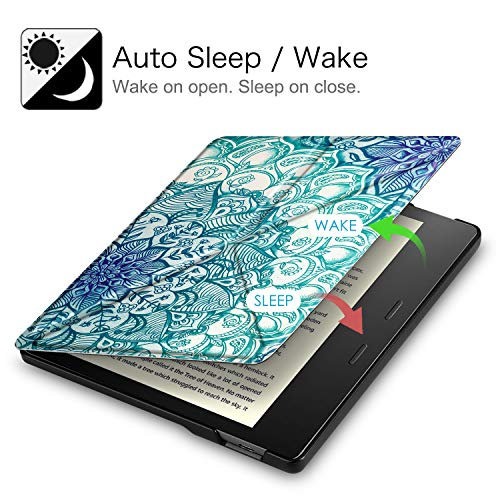 Fintie Origami Case for All-New Kindle Oasis (10th Generation, 2019 Release and 9th Generation, 2017 Release) - Slim Fit Stand Cover Support Hands Free Reading with Auto Wake Sleep, Emerald Illusions