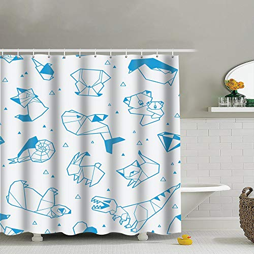 (best bags Origami Animals Triangles Paper Wildlife Fabric Shower Curtain Heavy-Duty Waterproof and Polyester Bathroom Curtains for Shower Bathtubs 72X72 Inch)